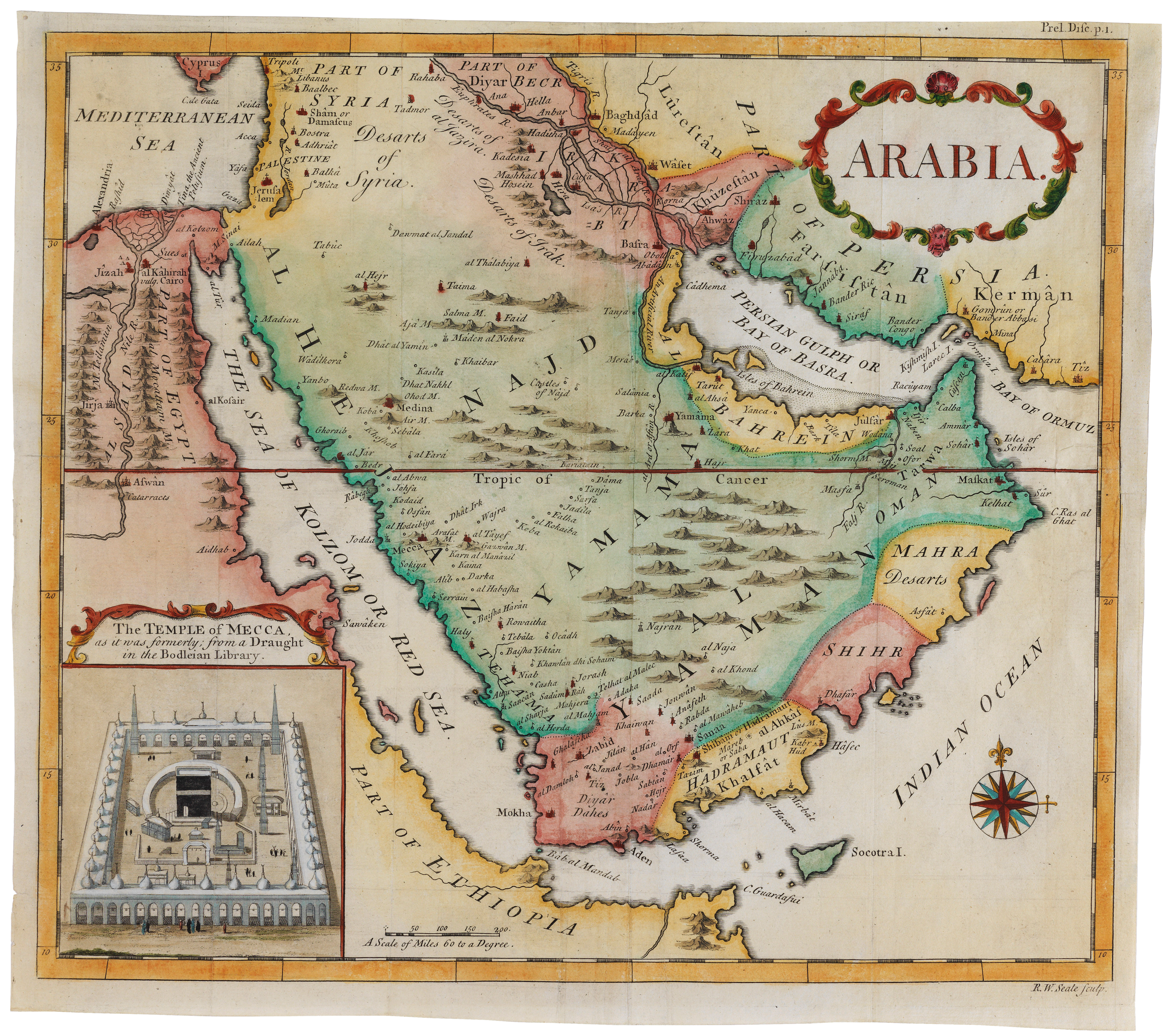 Map of Arabia with, inset, a view of 'The Temple of Mecca'