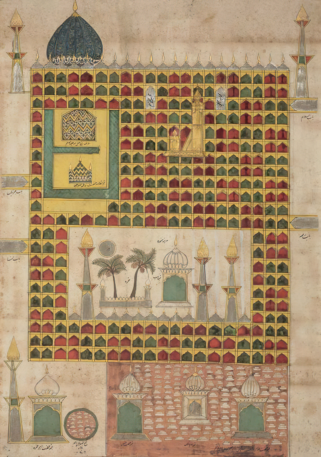 Medina depicted in a pilgrimage scroll