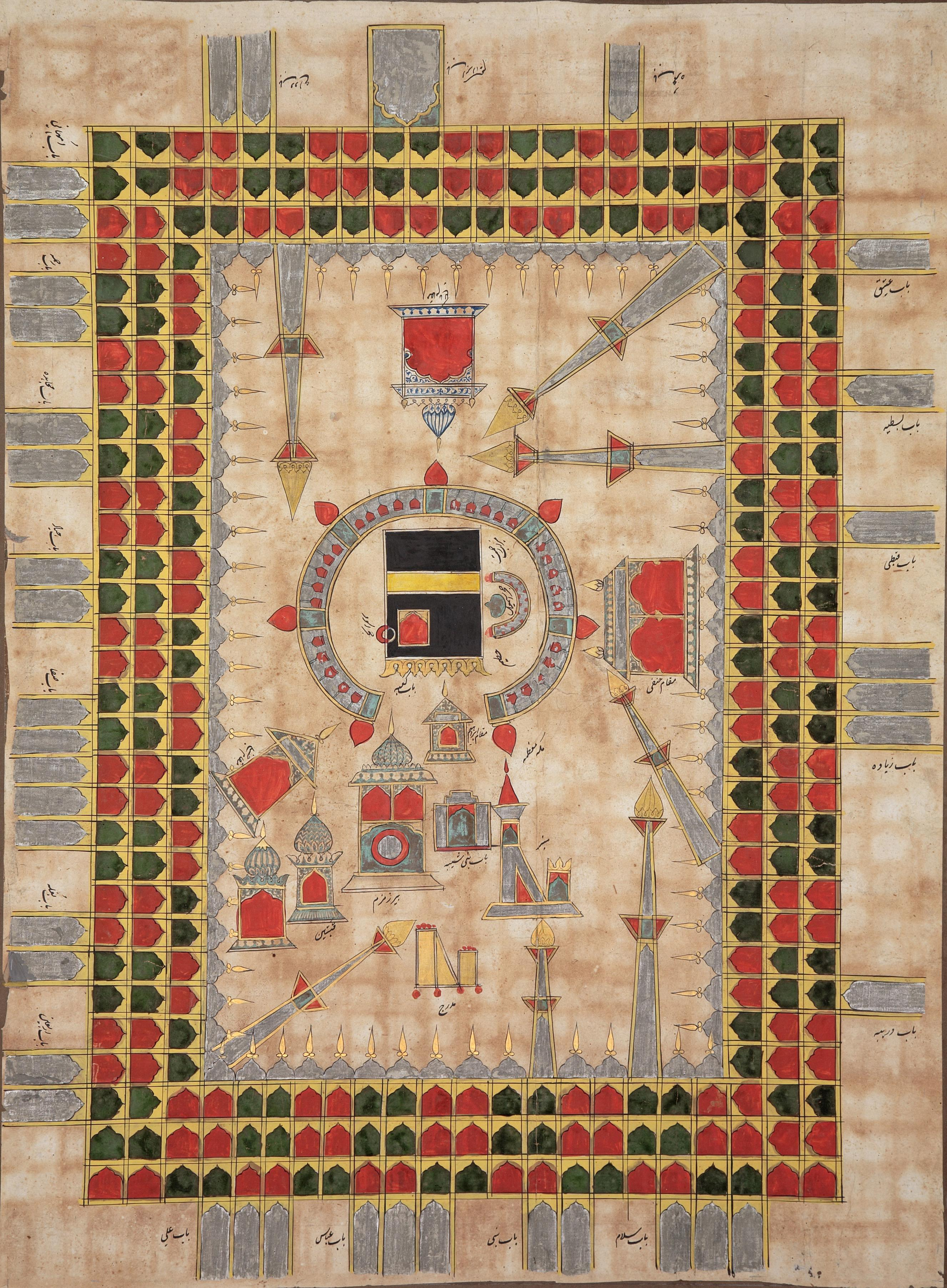 Mecca depicted in a pilgrimage scroll
