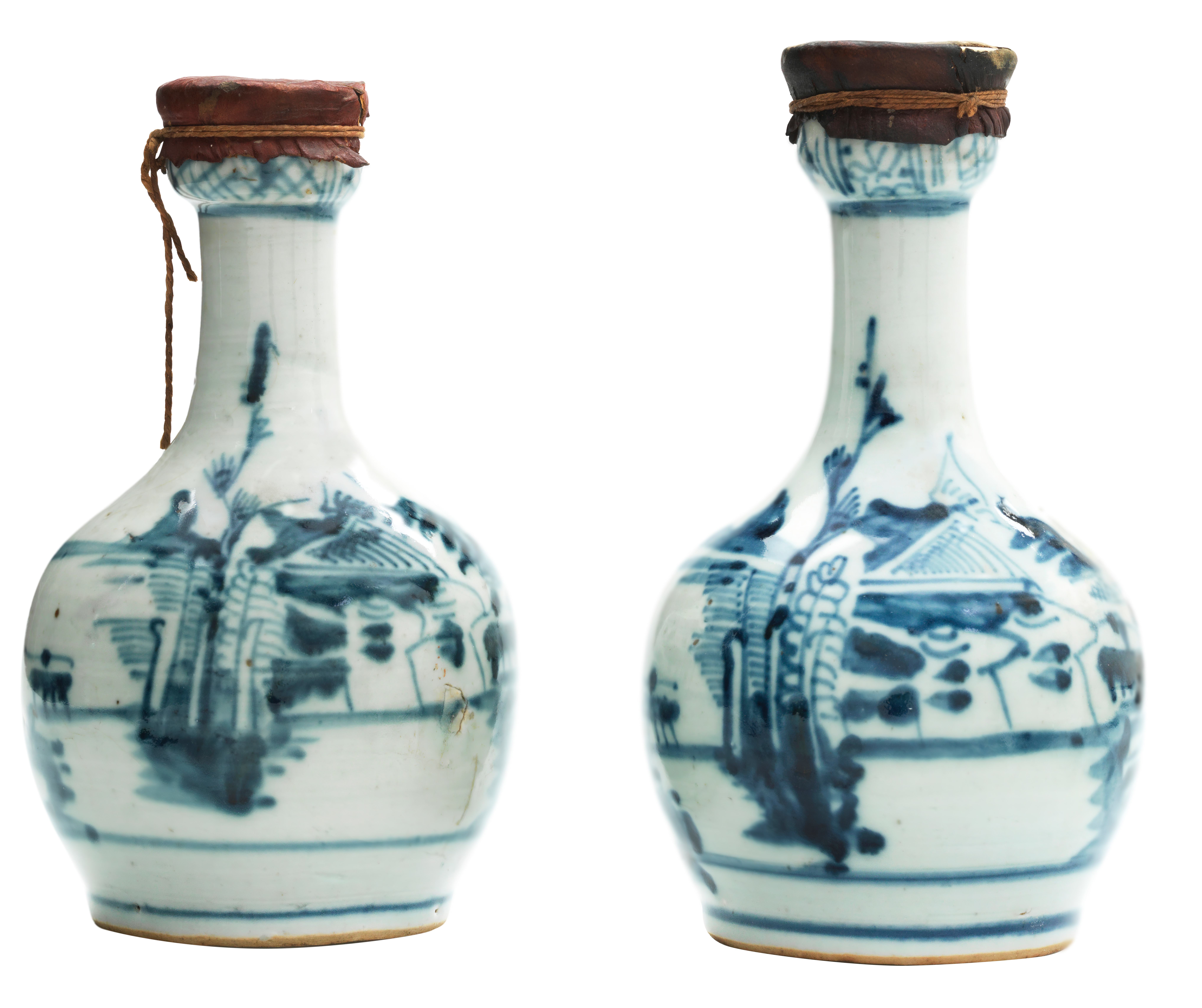 Two blue-and-white porcelain sealed 'Zamzam' water bottles