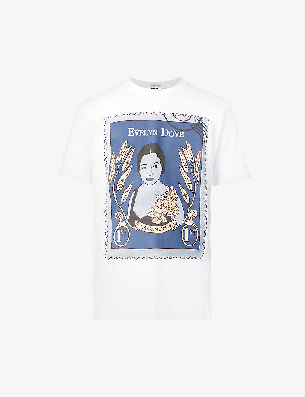EVELYN DOVE STAMP TEE  WHITE