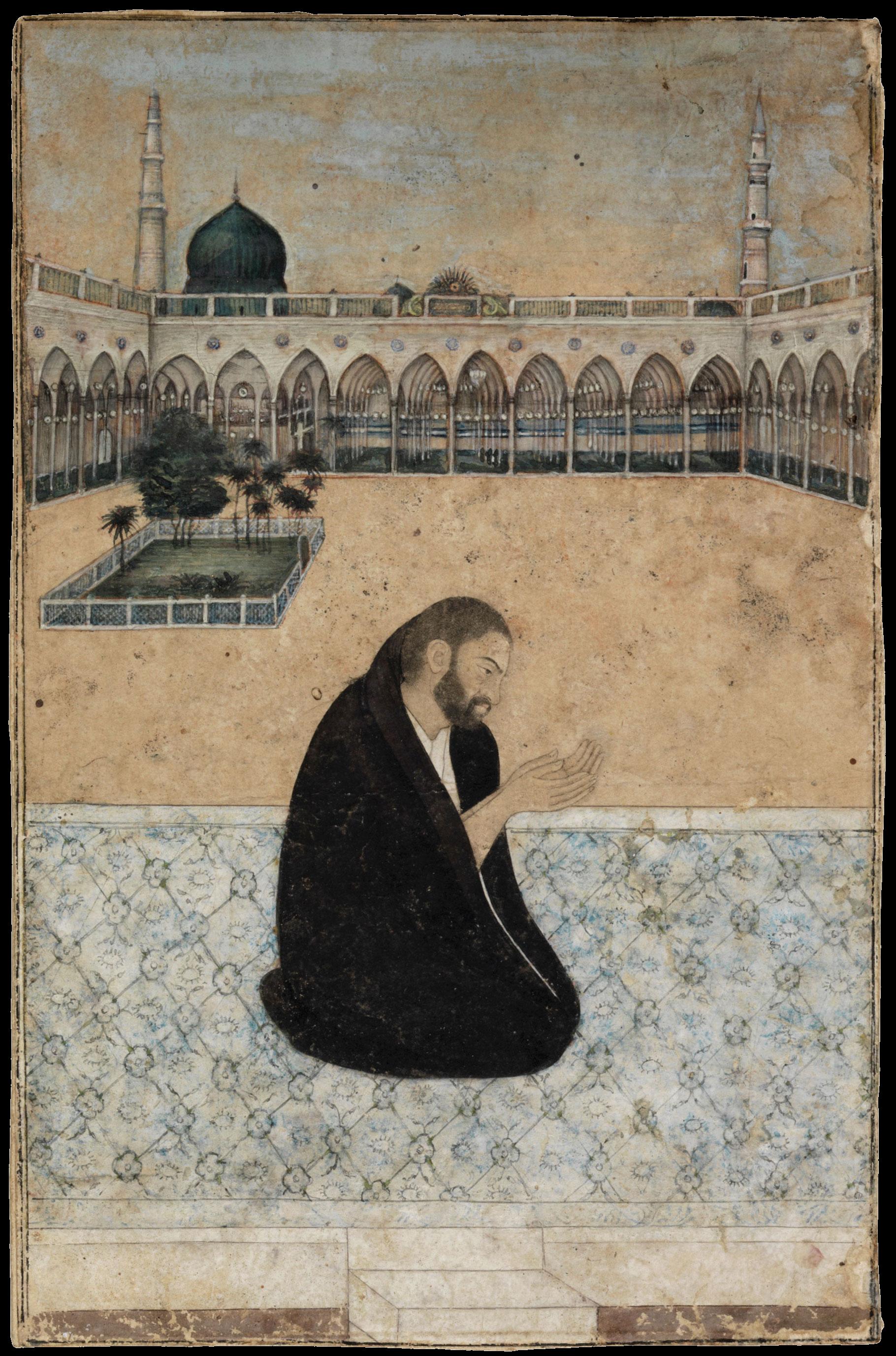 An illustration of the Sufi saint Mian Mir praying at Medina