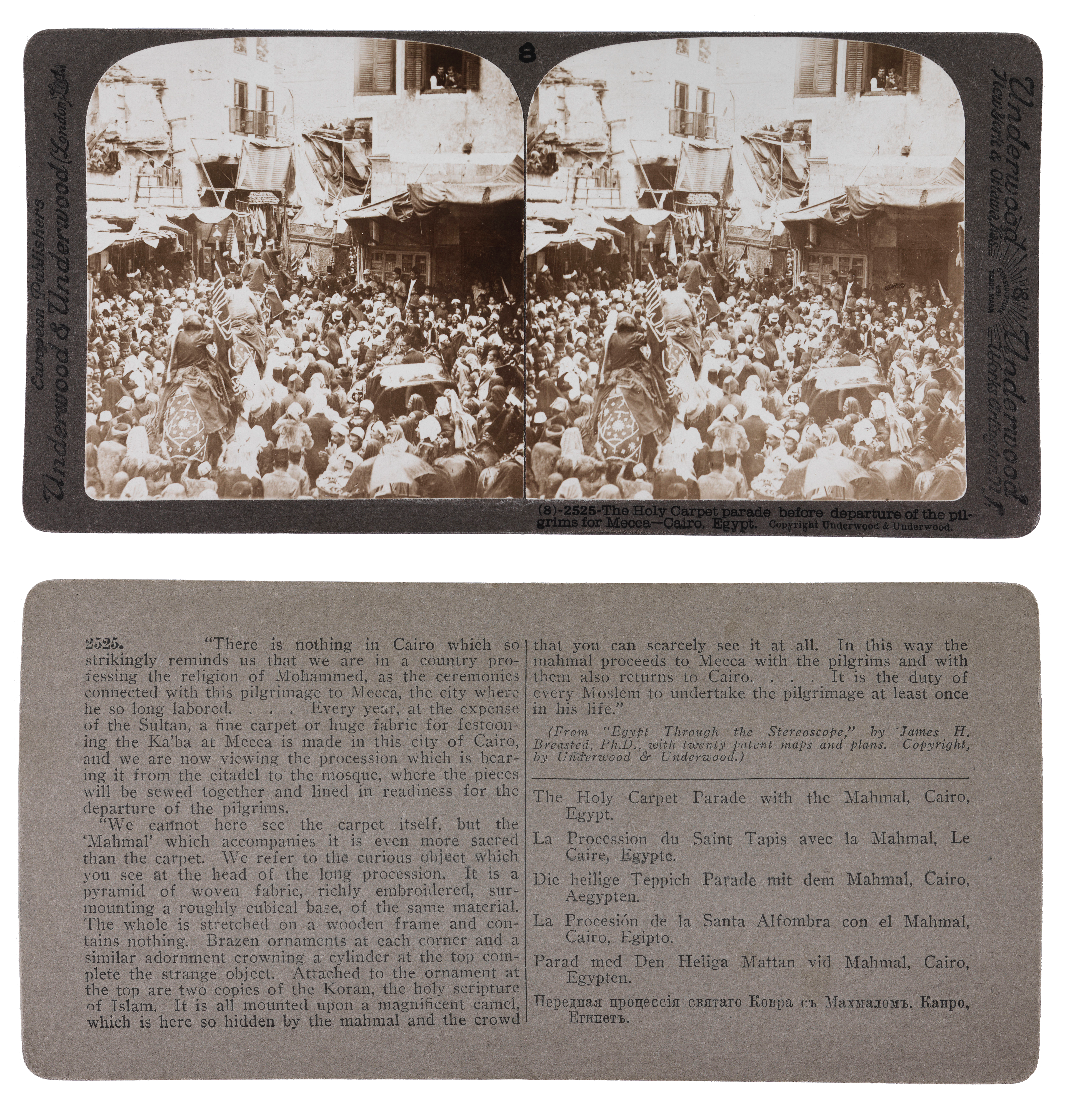 Streoscopic view: The Holy Carpet Parade before the departure of the pilgrims for Mecca