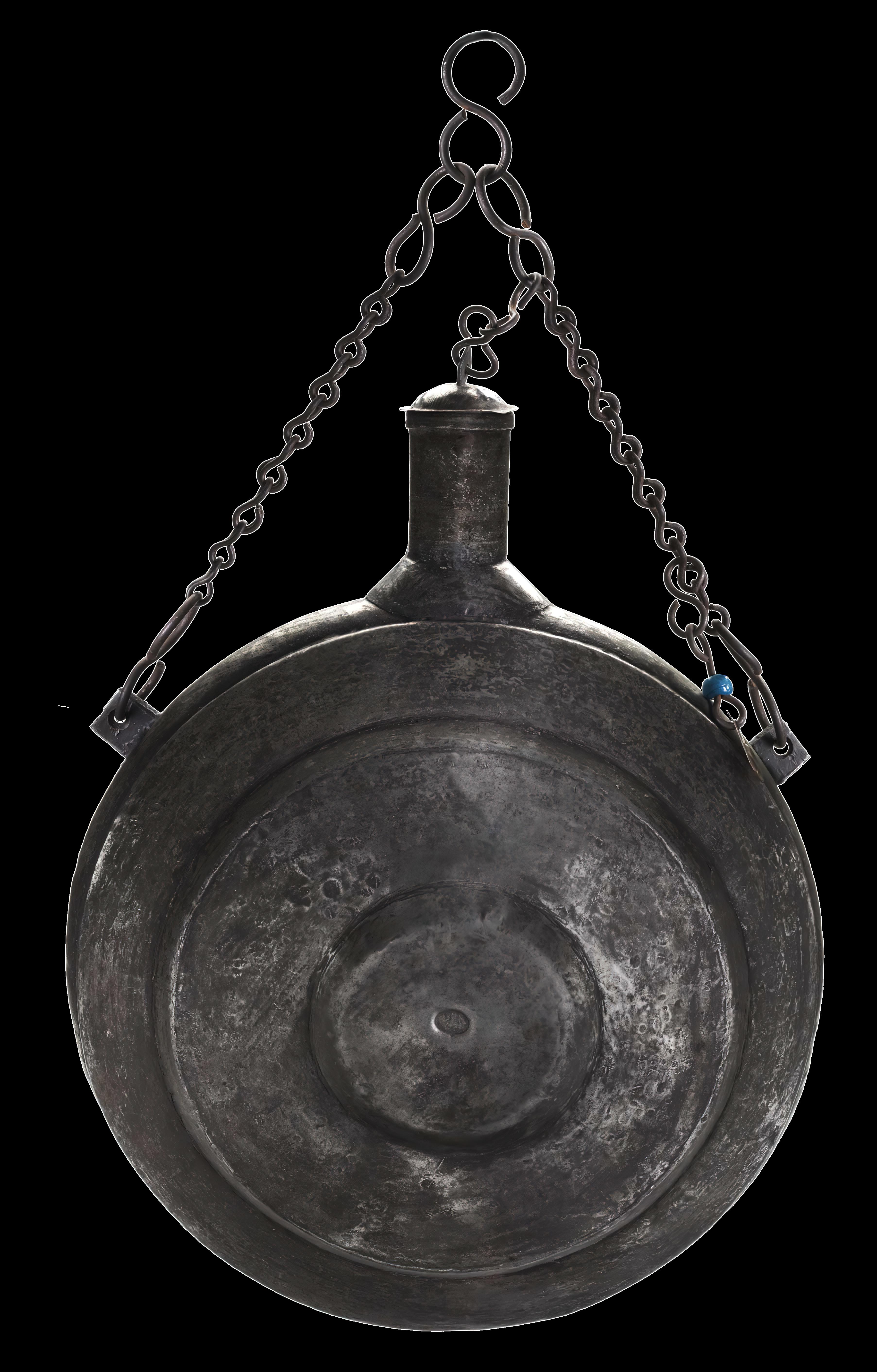 Large tinned copper pilgrim flask