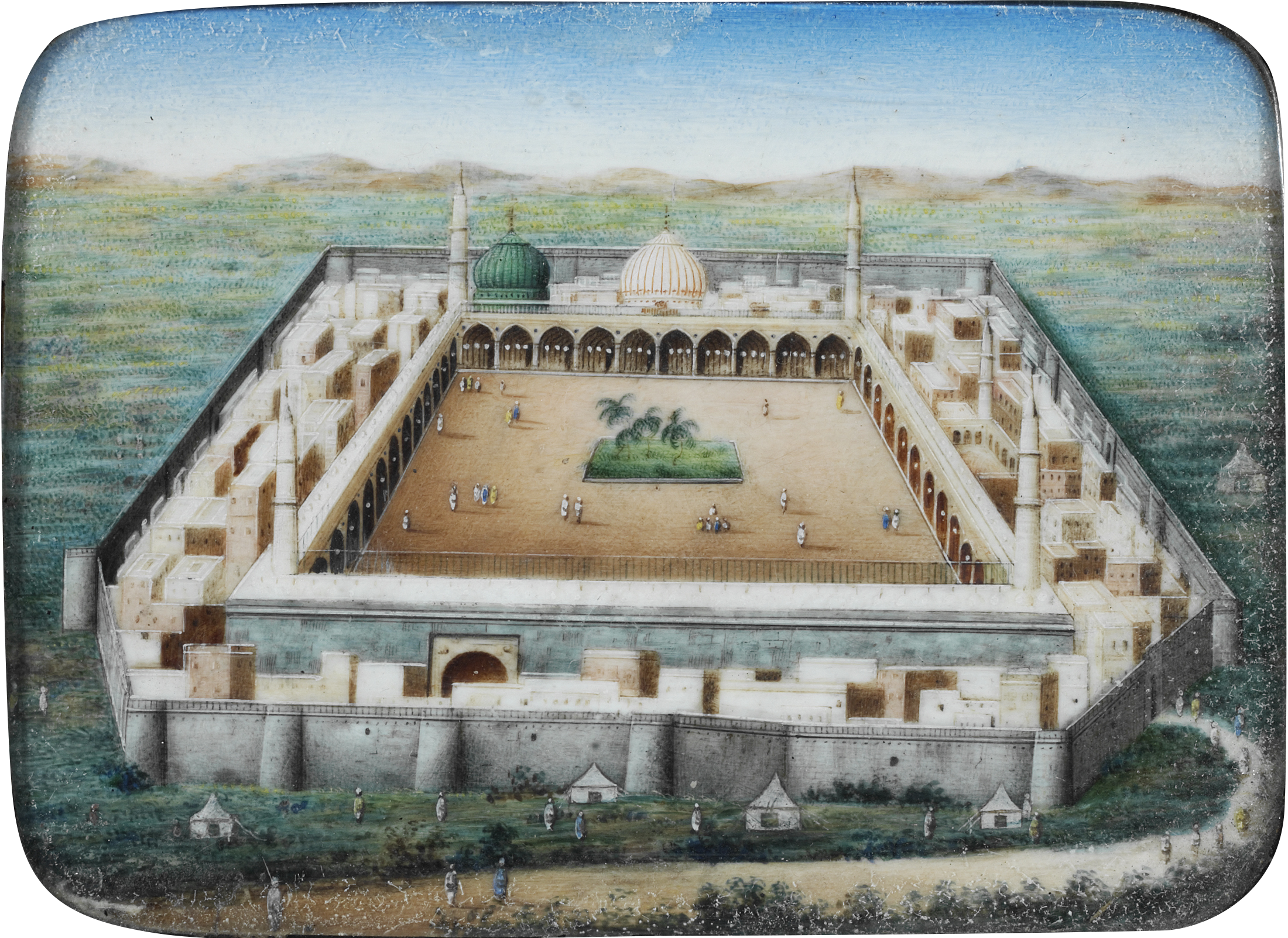 View of the Prophet's mosque at Medina on ivory