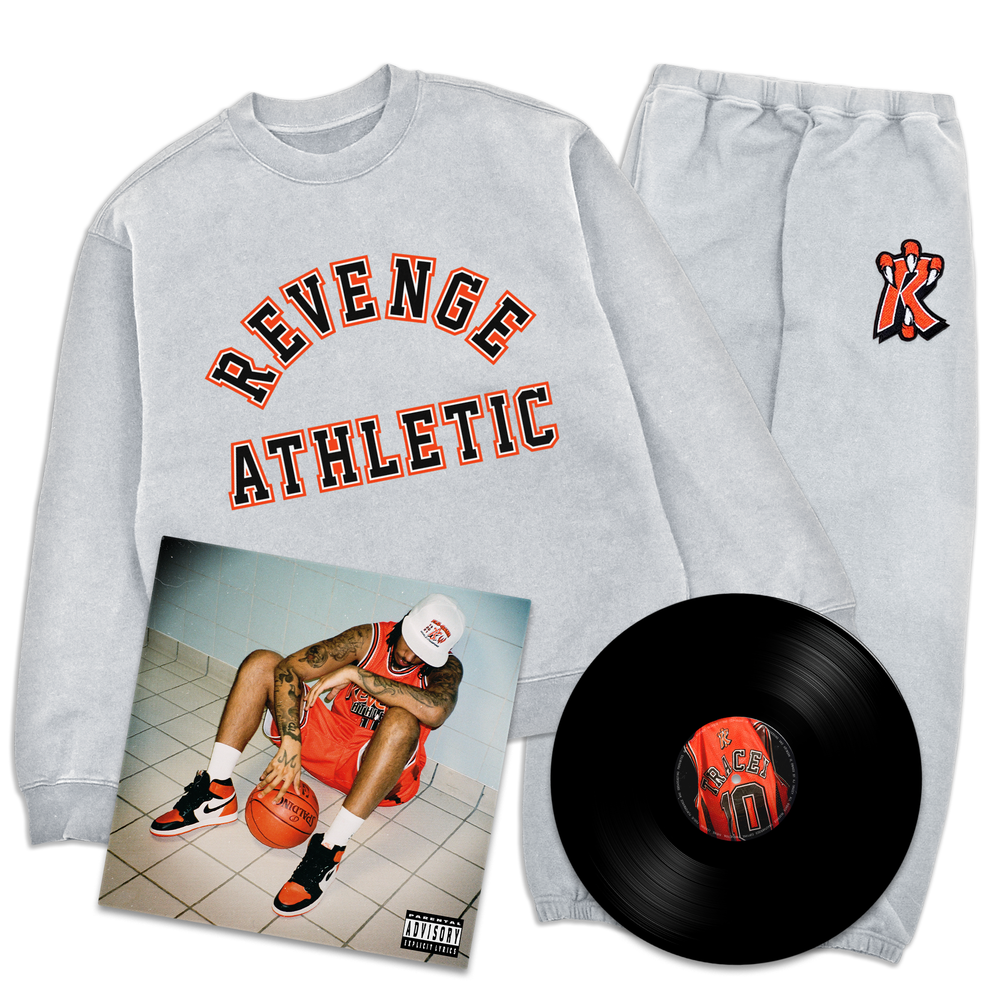 Flu Game LP + Collegiate Tracksuit Bundle - Grey