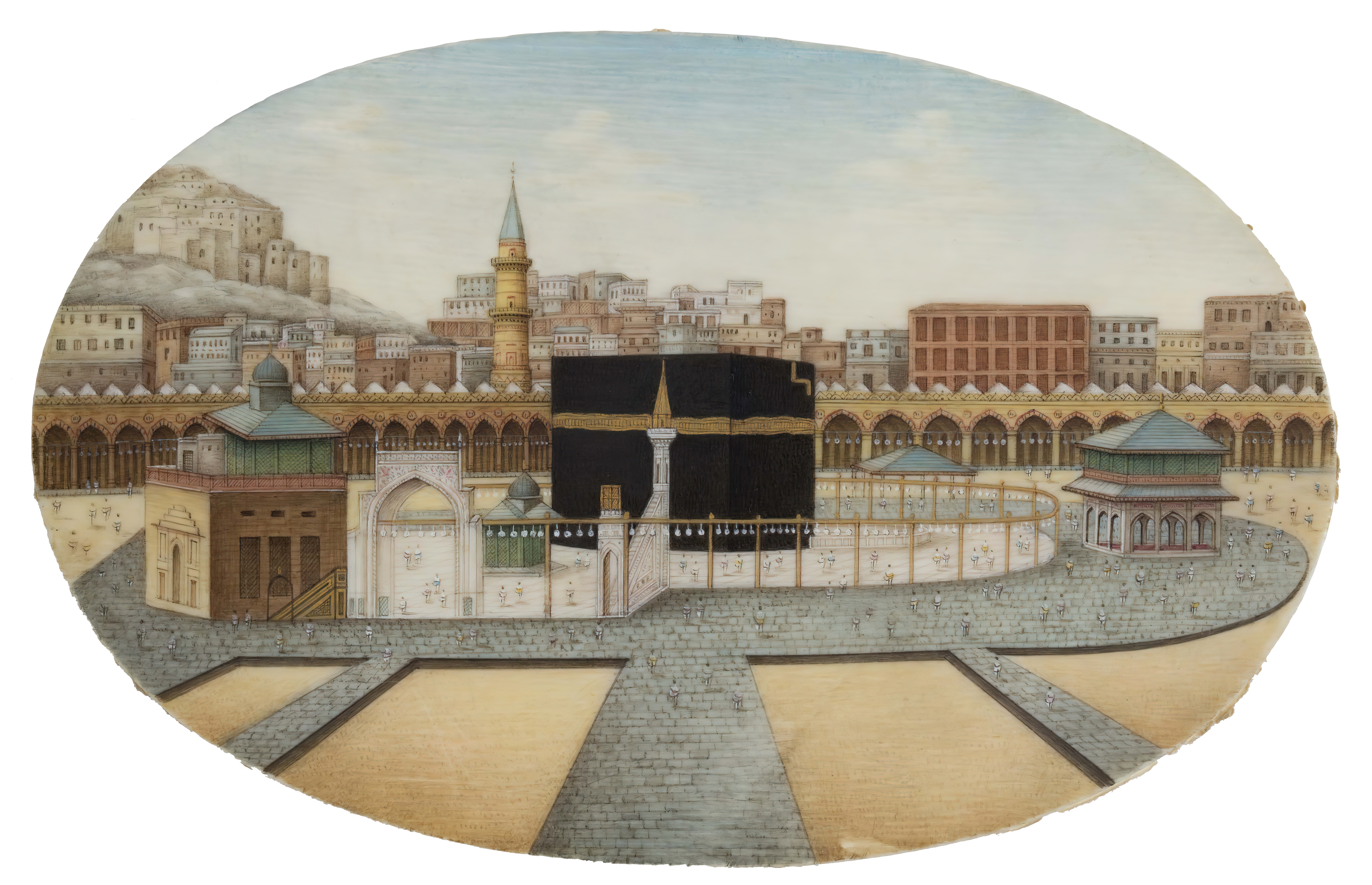 Miniature view on ivory of the sanctuary at Mecca