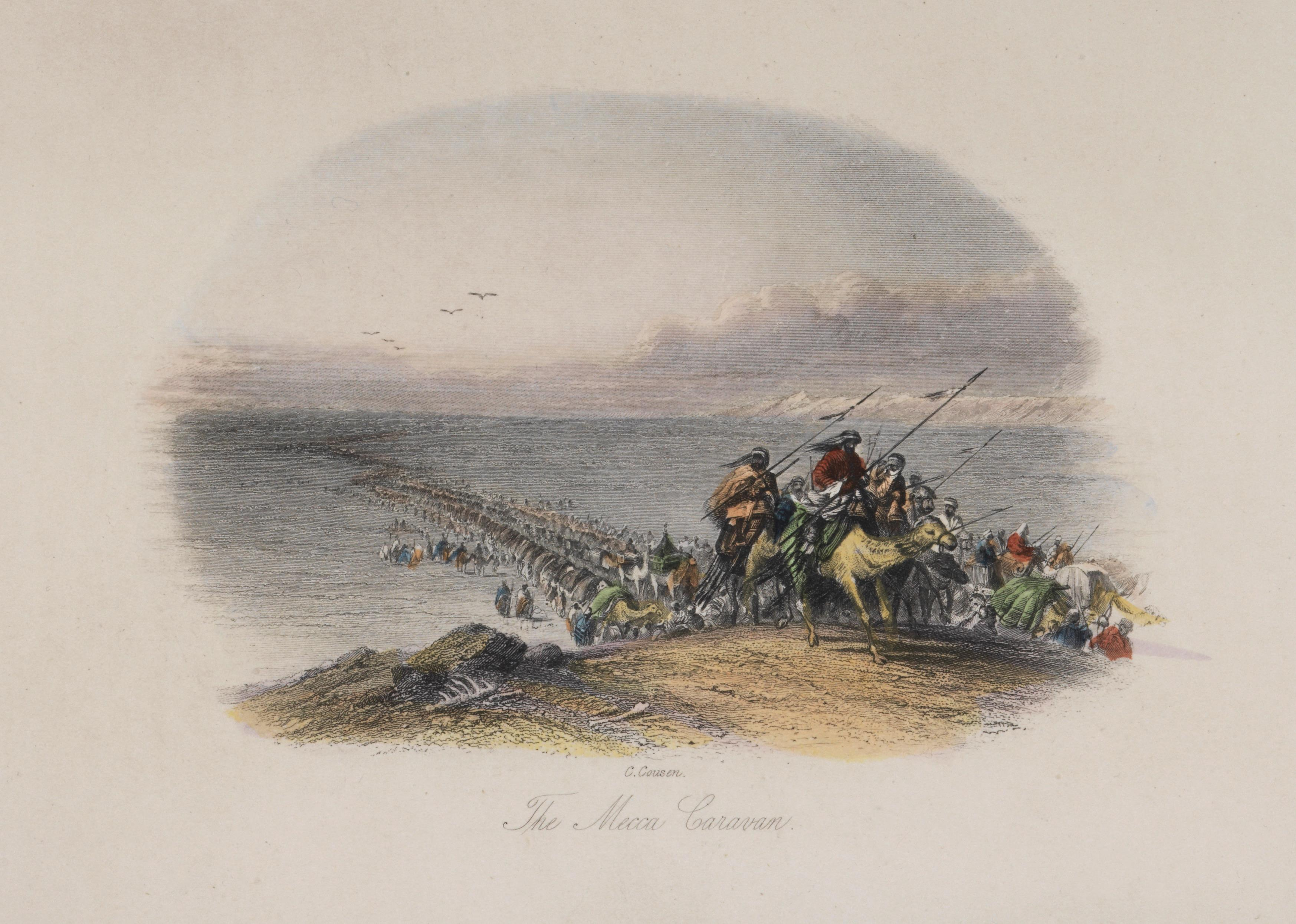 The Mecca Caravan tinted steel engraving by Charles Cousen,