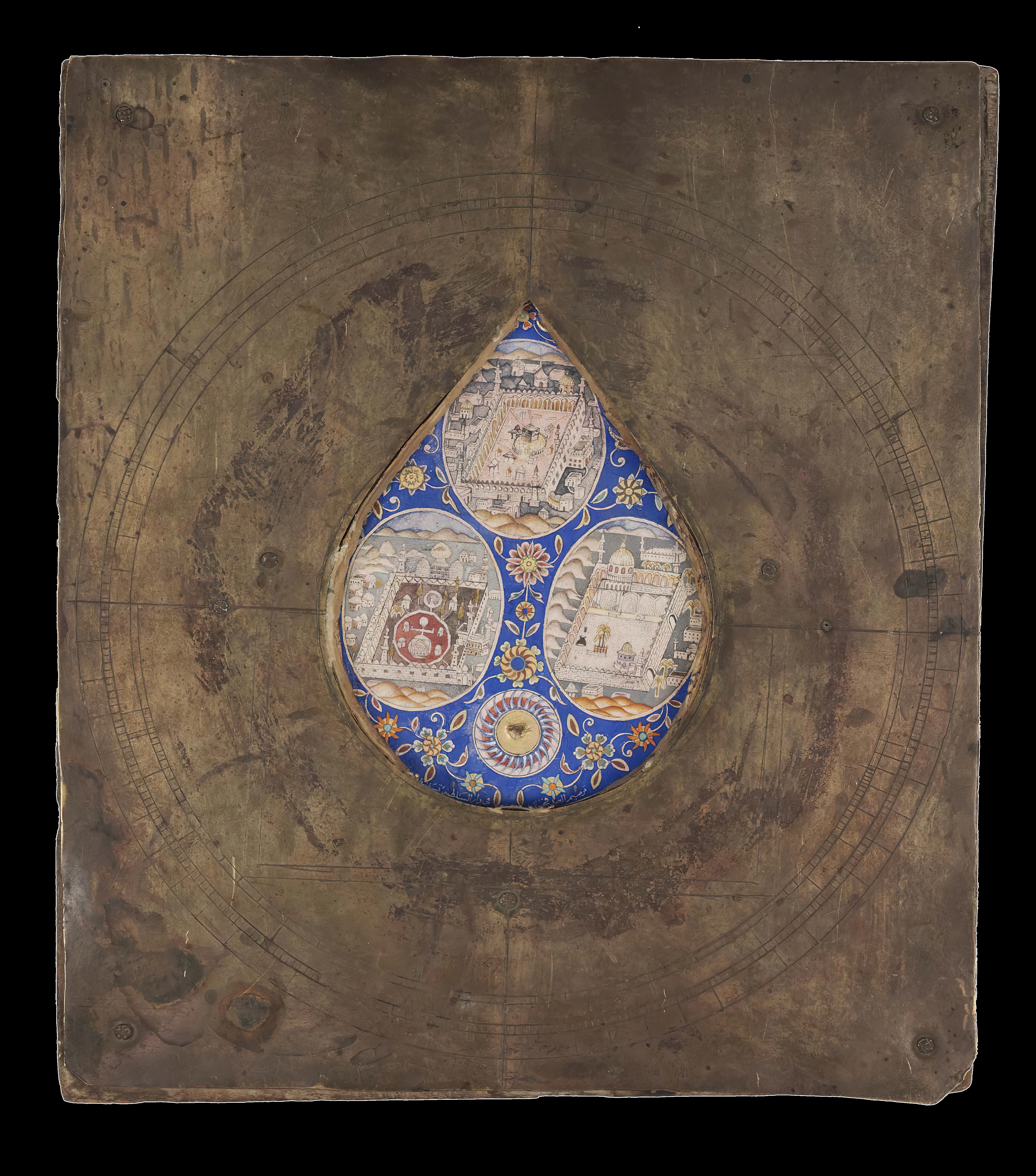 Qiblah compass with views of Mecca, Medina and Jerusalem