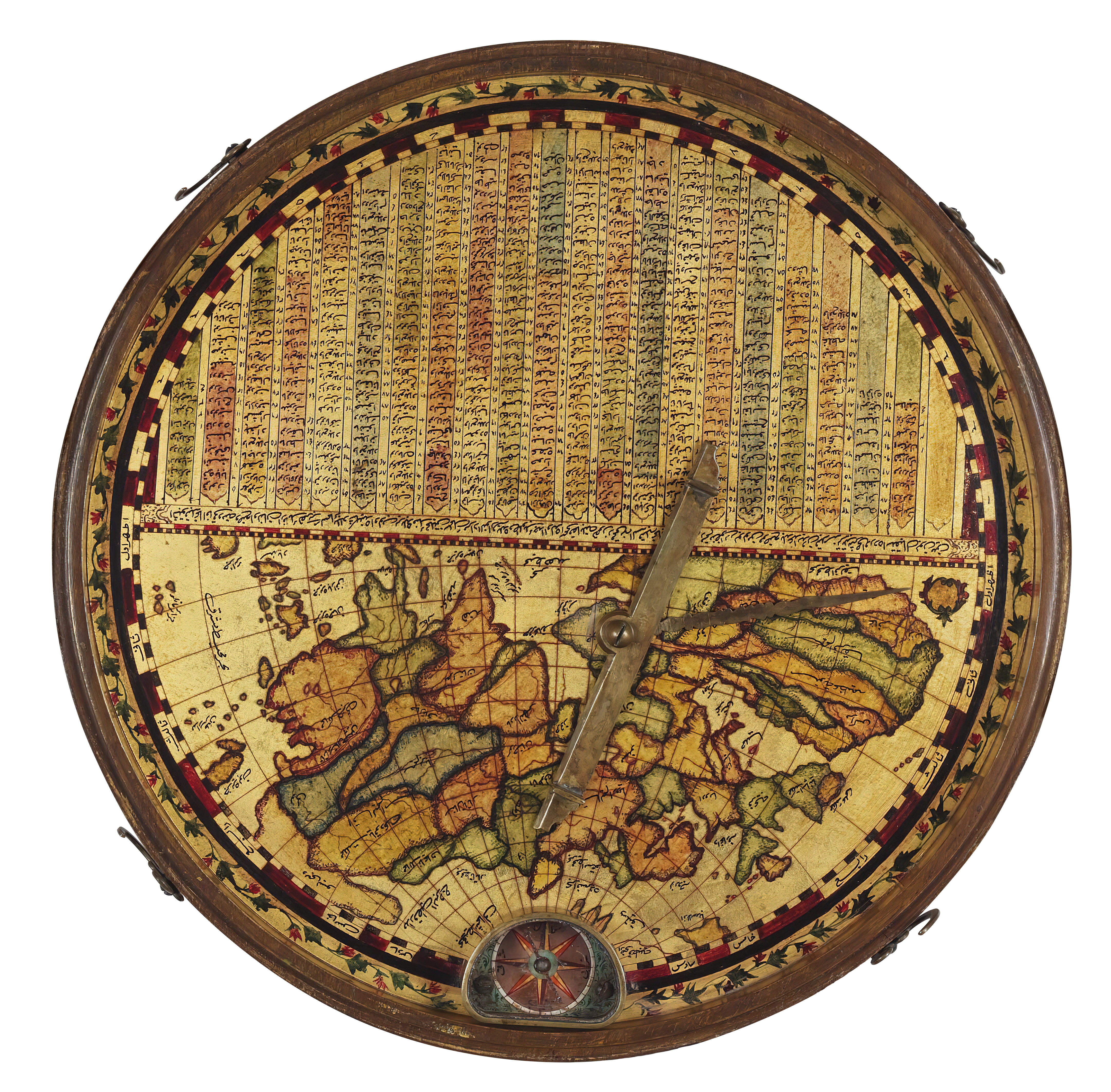 Qiblah compass in lacquer-painted wooden box and lid, interior with view of Mecca