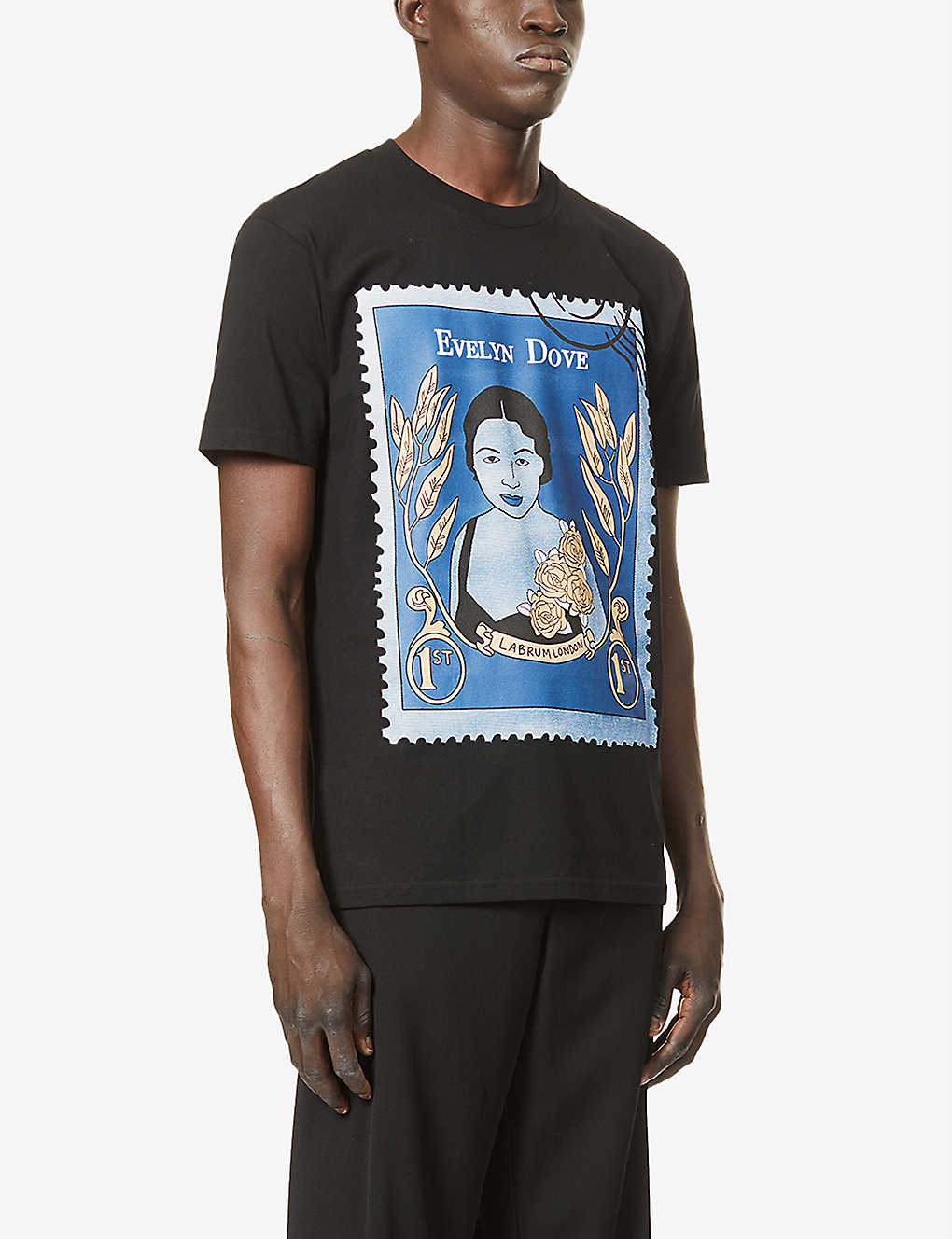 EVELYN DOVE STAMP TEE  BLACK