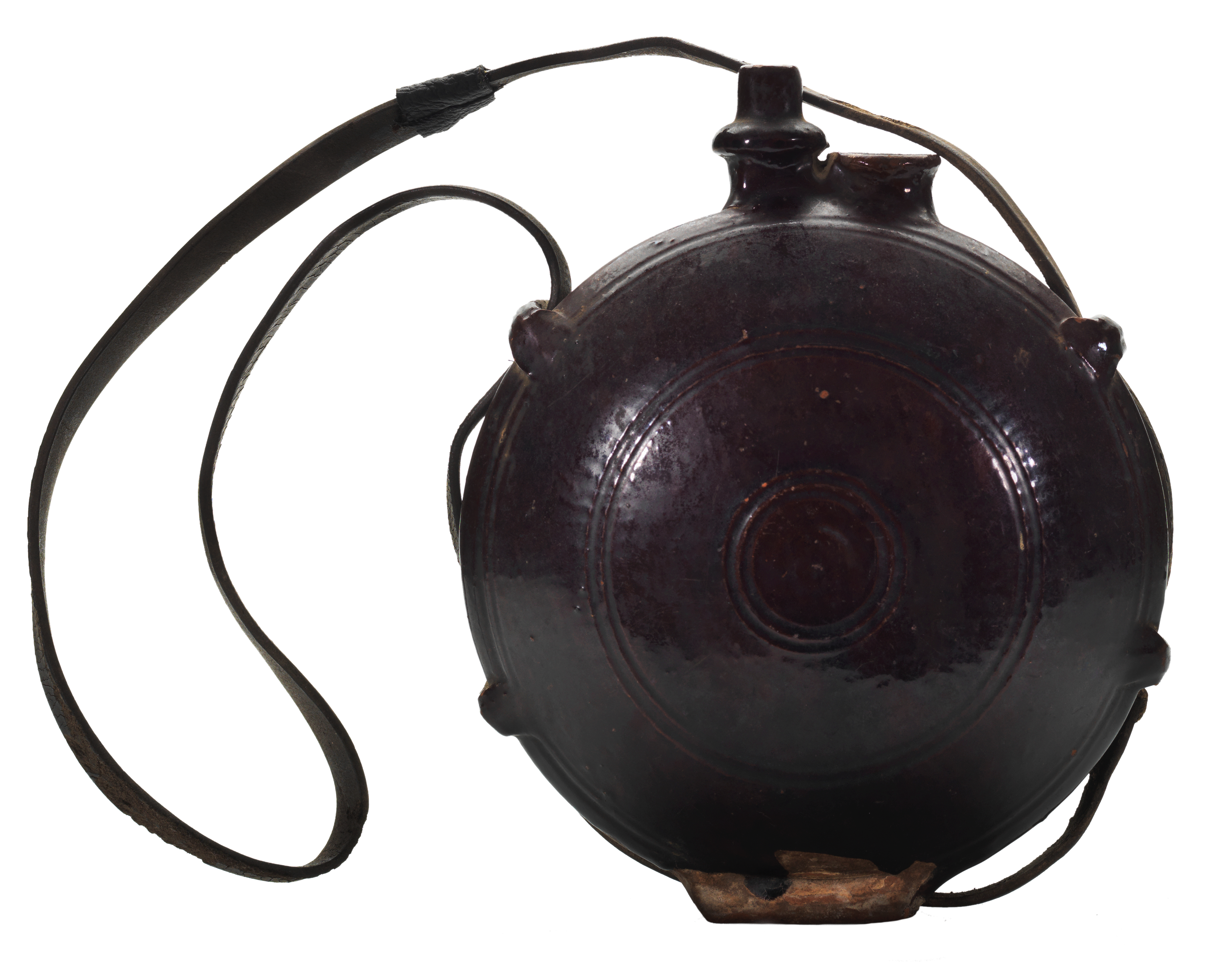 Brown-glazed pilgrim flask with leather strap