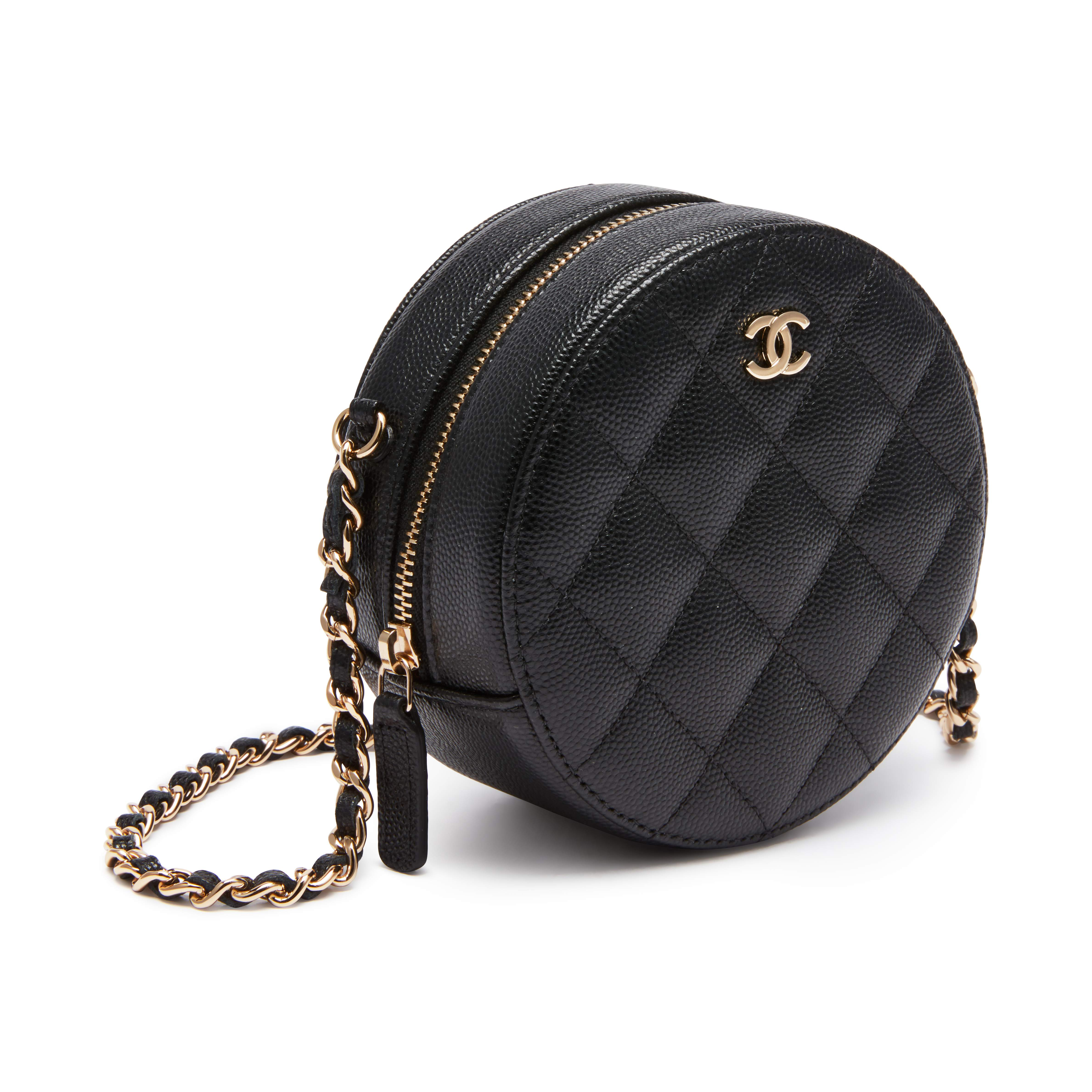 black-quilted-caviar-round-chain-clutch-goldtone-hardware-dcf5