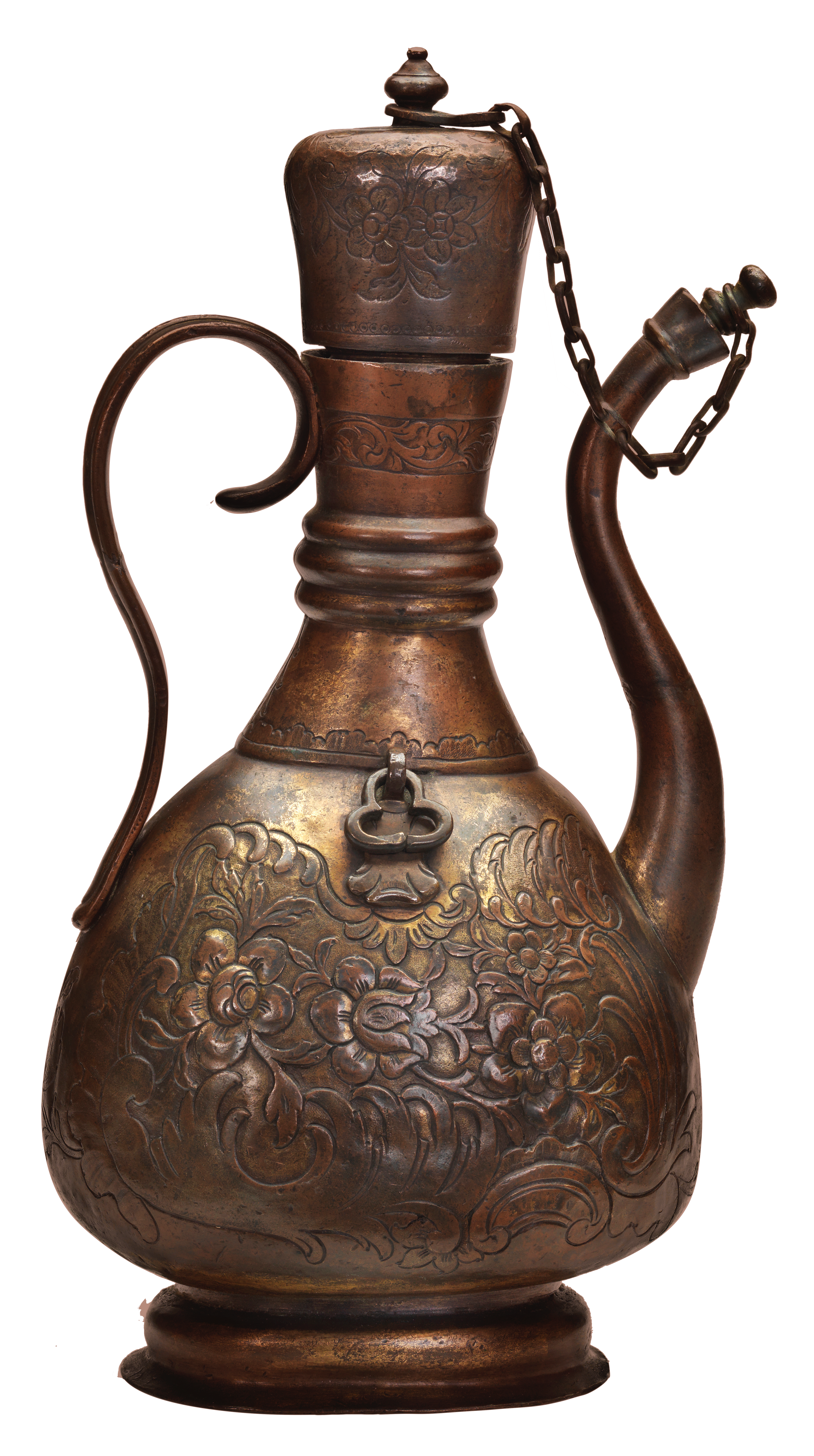 Tombac pilgrim flask with screw-on lid and spout cover