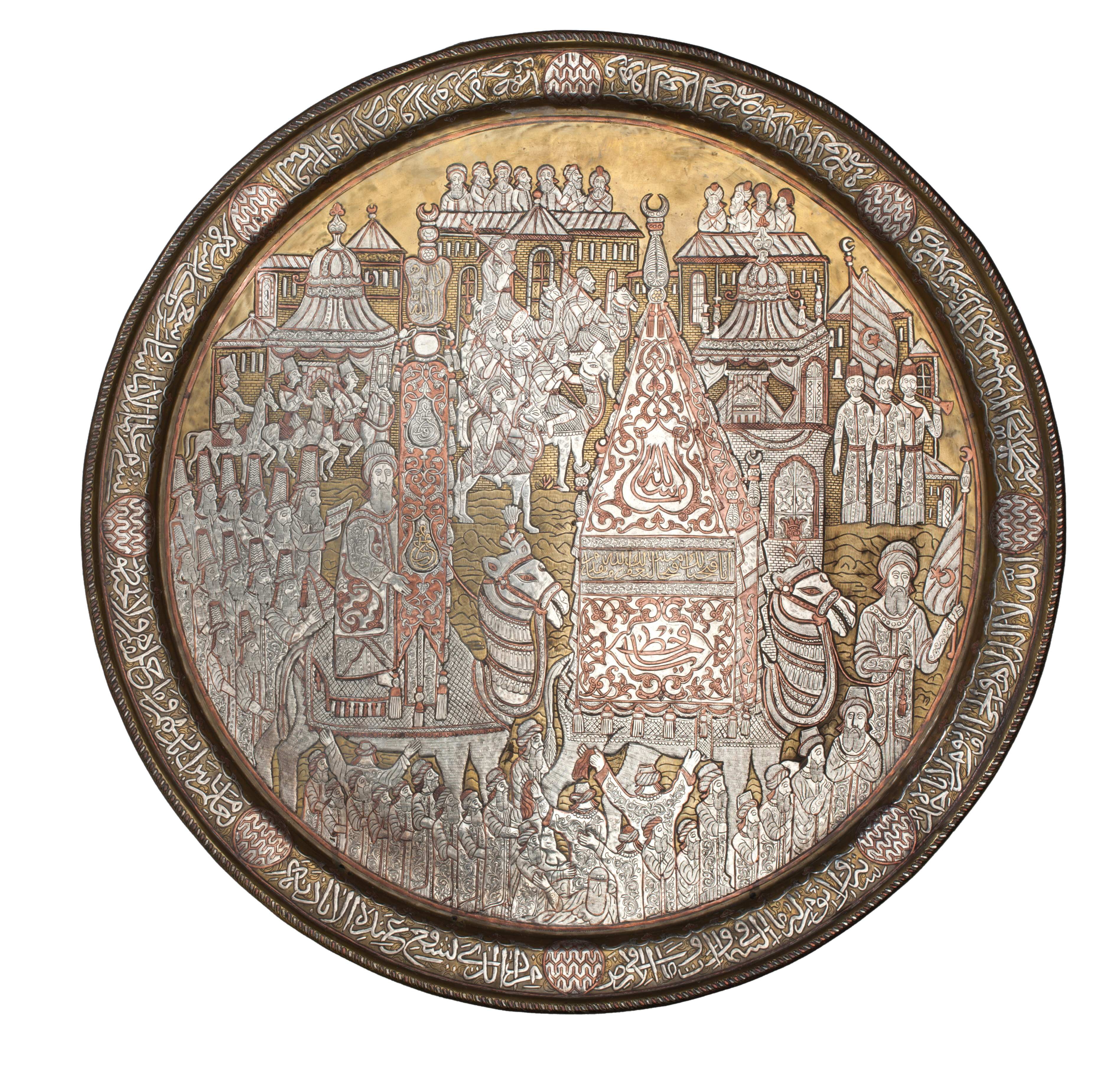 Large brass tray with the procession of the Mahmal