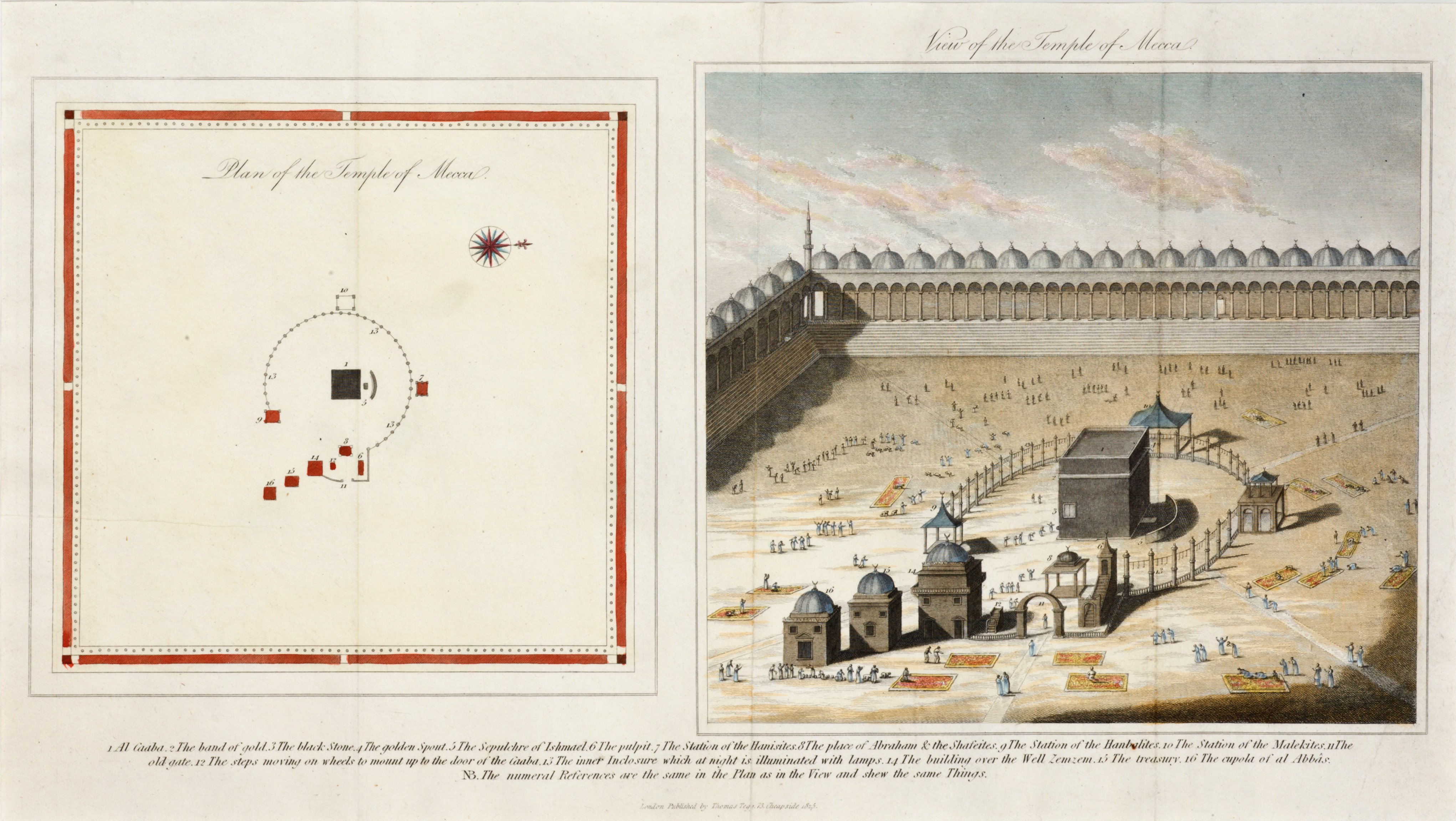 Plan and view of the Holy Sanctuary at Mecca published by Thomas Tegg,